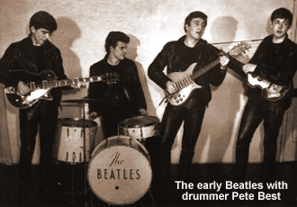 The early Beatles with drummer Pete Best