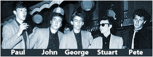 Paul McCartney, John Lennon, George Harrison, Stuart Sutcliffe, Pete Best